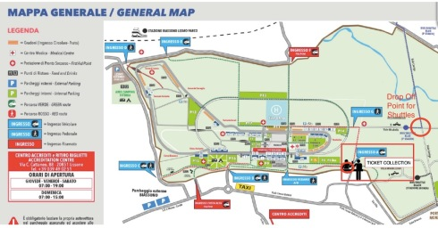 Map of the F1 Race at Monza
